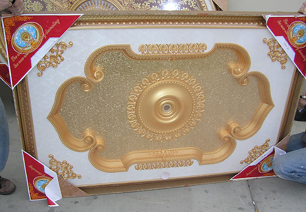 Wishihadthat Ornate Ceiling Medallion Gold On White