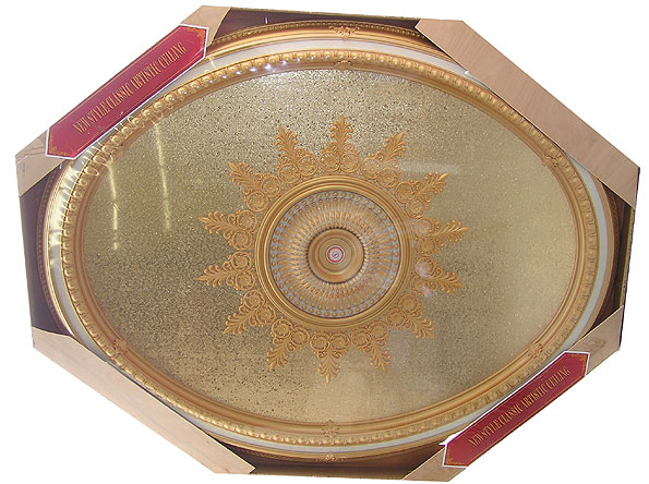 Wishihadthat Oval Ceiling Medallion Gold Mirror With Trim