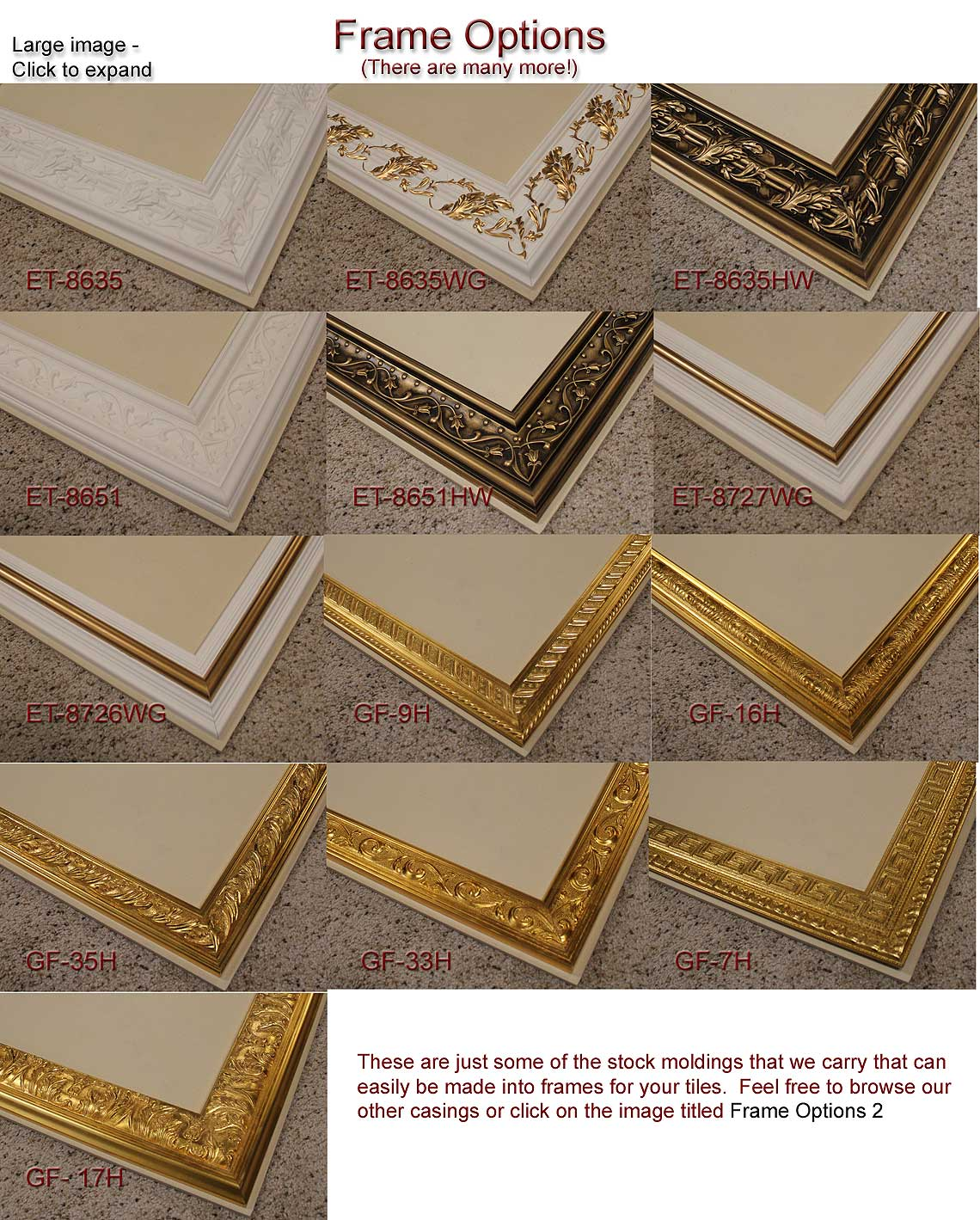 Frames for ceramic tiles