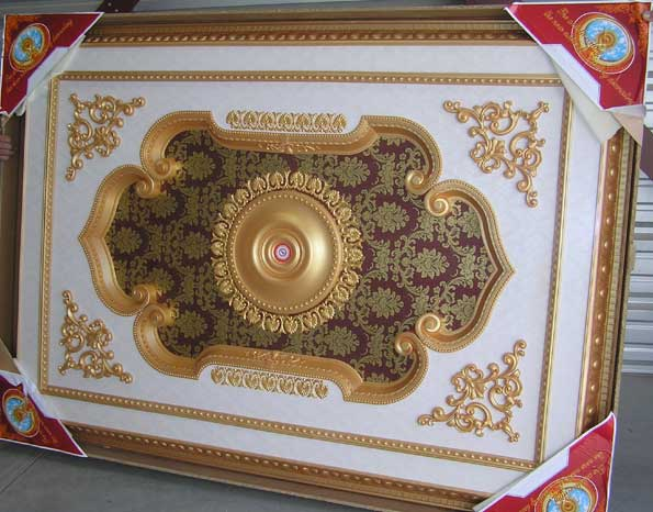 Wishihadthat Rectangle Ceiling Medallion Gold And Red