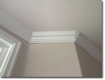 Before Caulking Crown Molding After Moulding